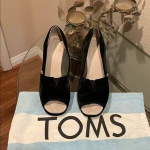 Toms Black Velvet peep toe wedge